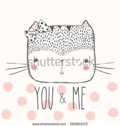 cute cat illustration for apparel or other uses,in vector.