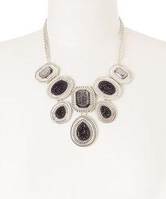 Love this Silver & Black Geo Filigree Bib Necklace by Majestic on #zulily! #zulilyfinds