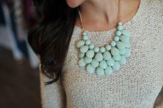 Dottie Couture Boutique - Jeweled Bib Necklace-Mint, $18.00 (http://www.dottiecouture.com/jeweled-bib-necklace-mint/)