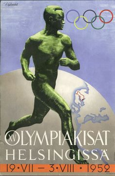 The poster for the 1952 Olympics in Helsinki was the Paavo Nurmi poster that was created for the 1940 Games, which were never held because of the Second World War. It was just updated with the dates and the lines around the country, drawn in red on a globe in the background.  photo credit: extranet.narc.fi