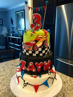 Race car blaze and the monster machines themed birthday cake