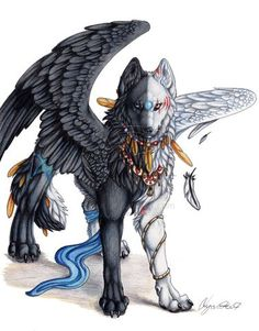 Half and half fantasy creatures, magical creatures, fantasy wolf, fantasy art, white Mystical Animals, Mythical Creatures Art, Magical Creatures, Pet Anime, Anime Animals, Cute Animals, Anime Male, Arte Furry, Furry Art