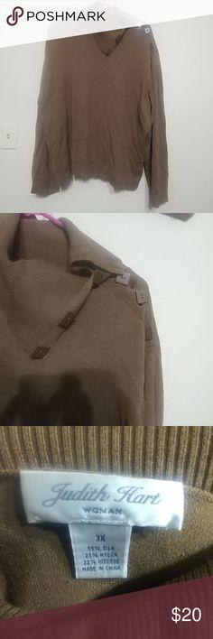Brown Judith Hart button turtleneck Brown turtleneck Judith Hart Sweaters Cowl & Turtlenecks