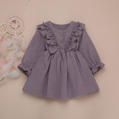 Purple Baby Toddler Ruffles Long Sleeve Cute A Line Dress - 4 5 YEARS Source by maykalakids dresses Girls Frock Design, Baby Dress Design, Baby Girl Dress Patterns, Kids Dress Wear, Toddler Girl Dresses, Little Girl Dresses, Cute Baby Dresses, Ruffled Dresses, Baby Dress Clothes