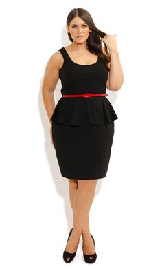 City Chic - SCOOP PONTE PEPLUM DRESS - Women's plus size fashion ...