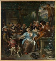 Merry Company on a Terrace  Jan Steen  (Dutch, Leiden 1626–1679 Leiden)    Date:      ca. 1670  Medium:      Oil on canvas  Dimensions:      55 1/2 x 51 3/4 in. (141 x 131.4 cm)  Classification:      Paintings  Credit Line:      Fletcher Fund, 1958  Accession Number:      58.89    This artwork is not on display