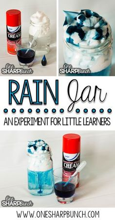 Weather - Teach your kindergarten students all about rain and clouds using this rain experiment for kids! Perfect for a rainy day this spring, or as a complement to your weather activities! Preschool Weather, Weather Science, Weather Unit, Weather For Kids, Spring Weather, Kindergarten Activities, Classroom Activities, Weather Activities For Preschoolers, Science Classroom