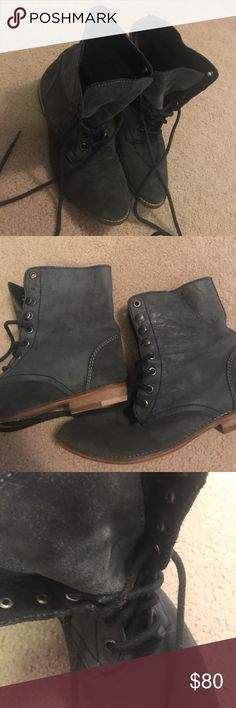 Free People boots Faded black and suede lace up boots from Free People. Were worn often but are in good condition. The bottoms are the most scuffed up part of the shoe and the laces are a little worn out in some areas. Make offers!! Free People Shoes Combat & Moto Boots