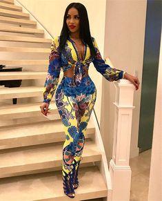 New Women Fashion Elegant Casual Style 2 piece Women Set Print V N. Black Girl Fashion, Womens Fashion, Female Fashion, Classy Outfits, Cute Outfits, 2 Piece Jumpsuit, Casual Elegant Style, Prom Girl Dresses, African Inspired Fashion
