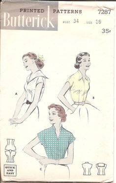 1950s Womens Blouse  Butterick 7287 Vintage Pattern by ErikawithaK