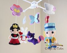 Baby Mobile - Baby Crib Mobile - Tea Party Mobile - Alice in Wonderland - Girl Nursery Room Decor