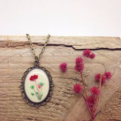 nature necklace - multicolor necklace - resin jewelry - nature inspired antiqued bronzed necklace with a delicated small pressed flowers mix