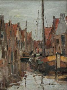 Piet Zwiers (1907-1965), olie/doek 'Gracht met aangemeerde boten in Meppel '