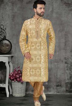 This kurta pyjama is fabricated on banarasi silk. It comes with a gold color dupion pyjama. Wedding Dresses Men Indian, Buy Wedding Dress, Mens Ethnic Wear, Gents Kurta, Engagement Dresses, Dapper, Pajama Set, Street Wear