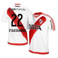 River Plate Home 16-17 Season  22 D Alessandro White Soccer Jersey   d981323b2