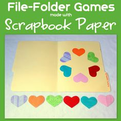 File Folder Games made with scrapbook paper