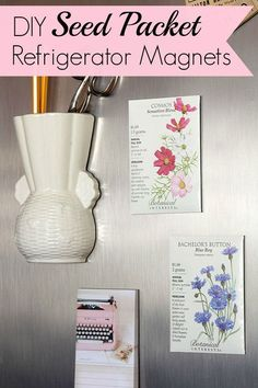 These 5 minute DIY seed packet refrigerator magnets are a super quick and easy craft project for your spring and summer decor. They would make cute wedding favors too.  Or Mother's Day gift ideas!