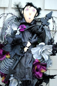Halloween Wreath Swag Warlock Wreath Black Purple Green Bats 36inch Swag has Matching Witch for Double Doors. See other listing. by TisTheSeasonDesign on Etsy