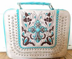 New Cross Studs Bible Cover Case With Handle Western Style Turquoise Sand