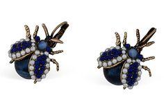 Faux-Lapis Bee Earrings on OneKingsLane.com