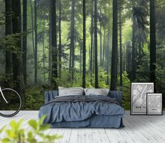 31 Gorgeous Forest Theme Bedroom Decoration Ideas - Does your little one fantasize about hiking through the deep, dense rainforest and cavorting with the exotic animal friends that live there? Safari Theme Bedroom, Forest Theme Bedrooms, Forest Bedroom, Bedroom Themes, Home Bedroom, Bedroom Wall, Bedroom Decor, Forest Wallpaper, Home Decor