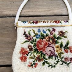Vintage Purse Beaded Evening Bag with Petit Point and Floral Design