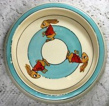 Antique Roseville Juvenile Bowl with Standing Rabbits Dressed in Red Jackets