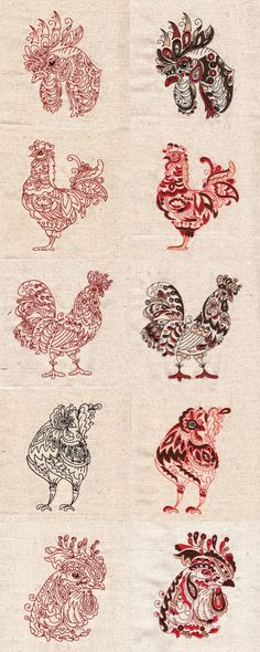 Colorwork and Blackwork Roosters Embroidery Machine Design Details