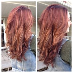 Red base with blonde peek a boo highlights
