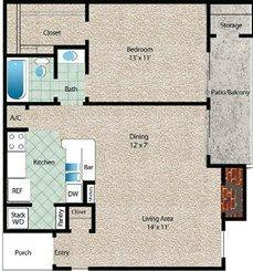 La Luna Floor Plan at The El Dorado View Apartments in Webster, TX