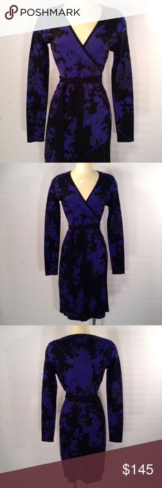 Diane Von Furstenburg Purple Wrap Dress Size Small A purple and black wrap dress by Diane Von Furstenburg,size small. The merino wool dress is in a floral print and measures 37 inches collar to hem .The wrap dress is new with tags,unworn condition,with a retail tag of 498.00. Please feel free to email me with any questions or concerns. Thanks for you'r interest. Diane Von Furstenberg Dresses Midi