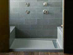Rectangular shower tray GROOVE® Kohler -- we'd build seat