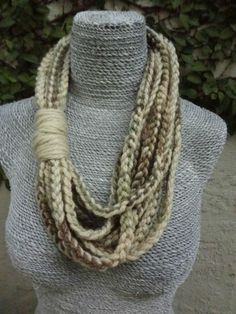 Yarn Infinity Hand Crochet Scarf Necklace - Sand,Green,Brown