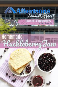 #ad Huckleberry jam is perfectly sweet Huckleberry Jam, Huckleberry Recipes, Jam Recipes, Dinner Recipes, Homemade Soup, Sweet Tarts, Vegetable Sides, Everyday Food, Easy Desserts