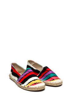 Stripe Out Jute-Trimmed Fabric Flats