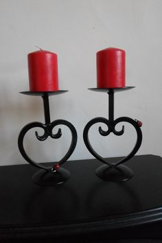 A Pair of Wrought Iron Heart Scrolled Candle Holders... By.CK.Metalcraft