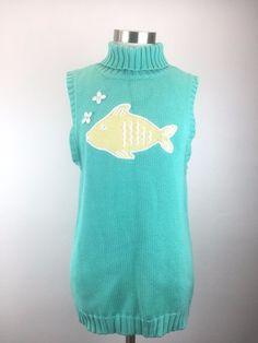 Lilly Pulitzer Womens $138 Seafoam Green Flowers Fish Turtleneck Sweater Top XL  #LillyPulitzer #TurtleneckMock