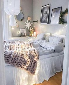 white and light blue bedding