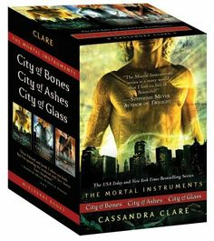 The Mortal Instruments: City of Bones; City of Ashes; City of Glass by Cassandra Clare, http://www.amazon.com/dp/1442409525/ref=cm_sw_r_pi_dp_DcuZpb128JF6X