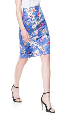 FLORAL PRINT PENCIL SKIRT from Zara