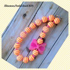 Chunky Strawberry Lemonade Necklace Bubble Gum Beads on Etsy, $22.00