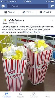 Fun for a writing center activity- Popcorn writing activity: students choose one yellow piece (character) and one white piece (setting) and write a short story or adapt to oral language activities Writing Lessons, Teaching Writing, Teaching Tips, Teaching English, Writing Prompts, Writing Ideas, Writing Assignments, Start Writing, Teaching Plot