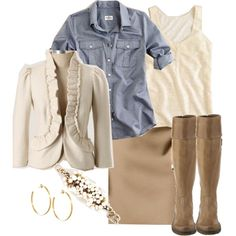 """neturals & chambray"" by shopwithm on Polyvore"