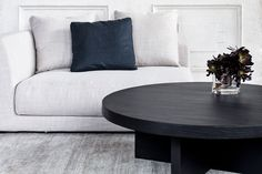 Not kid friendly, but love the linen couch. Low rise coffee table, waiting for your favourite trinkets. Outdoor Table Settings, Outdoor Sofa Sets, Solid Wood Furniture, Home Furniture, Mcm House, Wood Sample, Commercial Furniture, Round Coffee Table, Simple Elegance