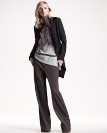 -3WV8 Brunello Cucinelli Feather-Trim Jacket, Embroidered Short-Sleeve Top & Garment Dyed Wide-Leg Pants