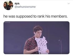 "As you can see here, Oh Sehun is a perfect representation of EXO-Ls when you tell them to rank the members. Apparently, this goes from ""most handsome"" to ""most extra. Exo Ot12, Kaisoo, Chanbaek, K Pop, Chanyeol, Kyungsoo, Love Memes For Him, Exo Memes, Funny Memes"