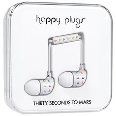 Happy Plugs Thirty Seconds to Mars In-Ear Sound Isolating Headphones - White White Headphones, In Ear Headphones, Ear Sound, Co Design, Thirty Seconds, Plugs, Cool Things To Buy, Mars, Happy