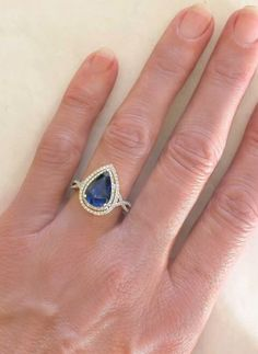 5.98 ctw Pear Shape Blue Sapphire and Micro Pave Diamond Ring in 14k. (GR-5703)