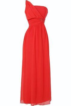 One Shoulder Embellished Maxi Dress in Coral  www.lilyboutique.com