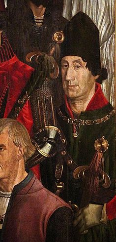 с.1470-80.Altarpiece of Saint Vincent,fifth panel.Nuno Gonçalves.Museu Nacional de Arte Antiga.i cavalieri.Portrait believed to be of Infante Peter, first Duke of Coimbra.Detail from the fifth panel of the polyptych Adoration of Saint Vincent,attributed to Portuguese Renaissance painter Nuno Gonçalves,composed c.1470 (possibly as early as 1450s). Originally found at the monastery of São Vicente de Fora,now held by the National Museum of Ancient Art in Lisbon,Portugal.